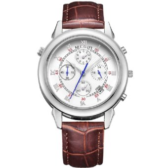 MEGIR Jam Tangan Pria Quartz Double Side Display Leather Quartz ML 2013 GBN 7 - White Silver Gold Leather