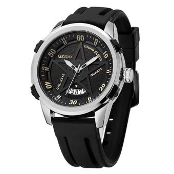 MEGIR Sport Men Watch Top Brand Luxury Soft Silicone Star Quartz Watches Clock Men Relogio Masculino Army Military Wristwatches MN1073G - intl