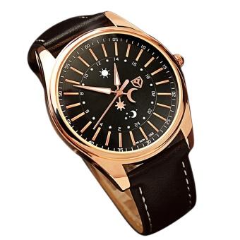 Men Luxury Business Round Dial Waterproof PU Leather Belt Noctilucent Pointer Quartz Wrist Watch Black - intl