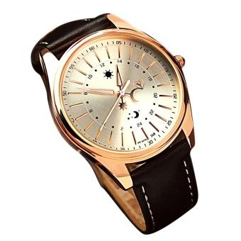Men Luxury Business Round Dial Waterproof PU Leather Belt Noctilucent Pointer Quartz Wrist Watch Silver - intl