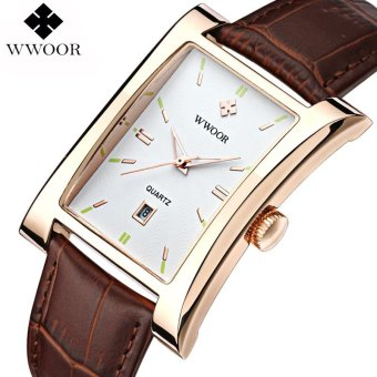 Men Luxury Leather Strap Watches Square Case with Date Waterproof Casual Quartz WristWatch (White&Gold Case) - intl