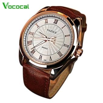 Men Roman Scale Luxury Fashion Retro Round Dial PU Leather Belt Quartz Wrist Watch Color C - intl