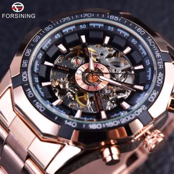 Men Watch Fashion Designer Transparent Case Top Brand Luxury Mechanical Automatic Skeleton Watch Clock Men (Rose Golden )