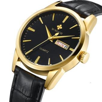 Men Watches Top Brand Date Day Genuine Leather Clock Luxury Gold Casual Watch Men's Quartz Sports Wrist Watch, Black - intl