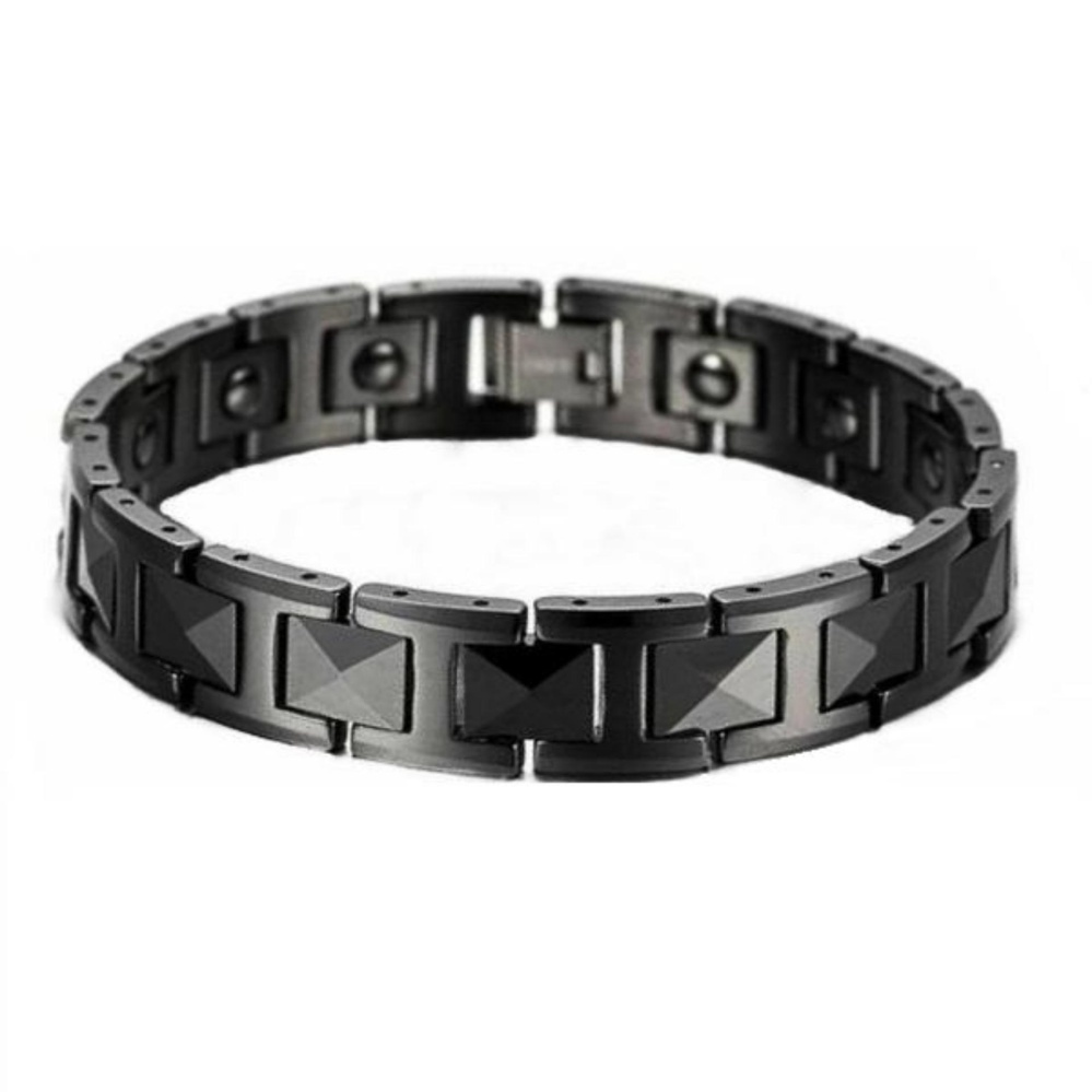 Men's Jewelry Diamond Faceted Black Ceramic Magnetic Bracelet - Gelang Pria - Kesehatan .