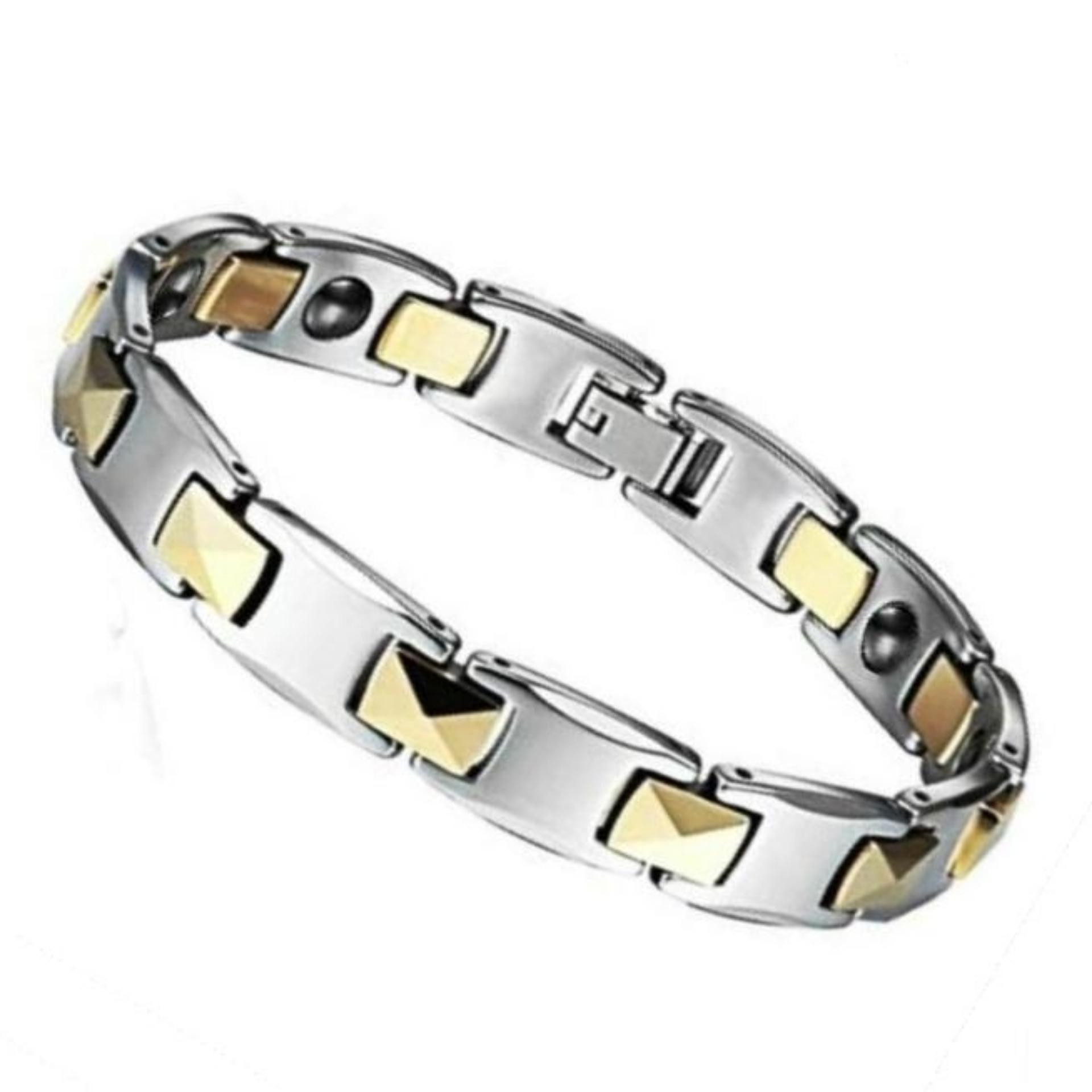 Mens Jewelry Crystal Brazilian Magnetic Ion Health Therapy Bracelet Gelang Kesehatan Bio Silver Gold Diamond Faceted Tungsten Pria