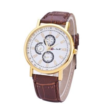 Men's Fashion Roman Numerals Leather Strap Quartz Watch with Calendar Three Small DialsBrown