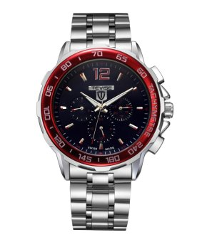 Mens Watch Six Pin Multi-function Automatic Mechanical Watch Waterproof Mens Leisure Wristwatch Black Red Dial - intl