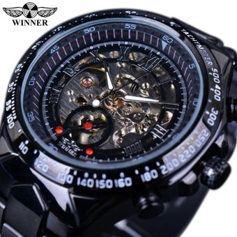 Mens Watches Black Dial Stainless Steel Horloge Watches Men Luxury Brand Automatic Skeleton Sport Style Watch Clock Men Military Watch - intl