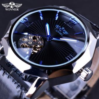 Mens Watches Blue Ocean Geometry Design Transparent Skeleton Dial Men Watch Top Brand Luxury Automatic Fashion Mechanical Watch Clock - intl