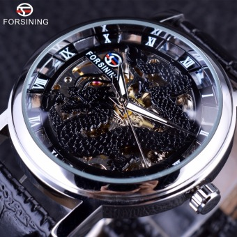 Mens Watches Top Brand Luxury Mechanical Skeleton Watch black