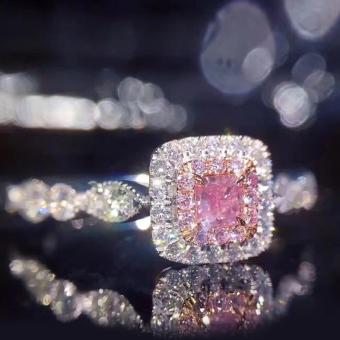 Merah muda berlian kristal poin warna simulasi cincin berlian cincin berlian