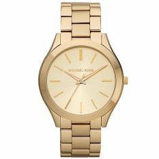 Michael Kors MK3179 42mm Jam Tangan Pria Wanita Slim Runway Champagne Unisex Men Women Ladies Watch - Gold Champagne