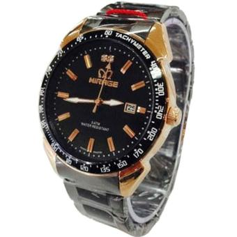 Mirage Jam Tangan Pria Stainless Steel (Hitam-Gold) MG 1411 (OVERSEAS)