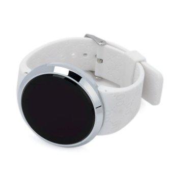 Mode layar sentuh berbentuk melingkar Merah memimpin tahan air jam tangan - putih + Perak (