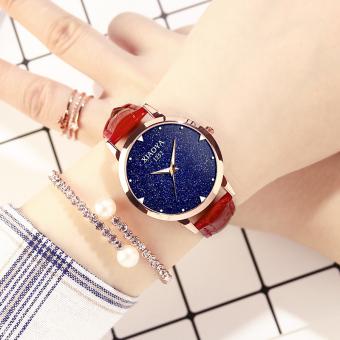Mode tahan air baru mahasiswa sabuk kulit bentuk perempuan menonton wanita jam tangan