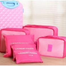 model tas travel bag  tas pakaian jinjing travel bag terbaru Traveling Bag - Bag In Bag Korean Bag In Bag Korean Bag In Bag Organizer Travel Bag In Bag Bag In Bags Dual Bag In Bag Hot Pink 1 set isi 6 pcs