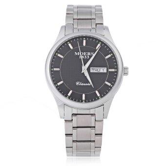 MOERS MJ8010 Male Fashion Quartz Watch Water Resistance Nail Scale Calendar Luminous Pointer Display Wristwatch (Black)