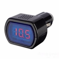 Monitor Voltase Baterai Mobil 12V Car Digital LED Engine Battery Voltage Electric Volt Tester Monitor Indicator Meter Voltmeter s7400 - Black