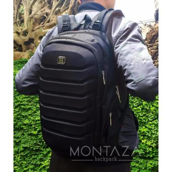 Montaza Gear Bag Laptop + Free Raincover Tas Ransel Laptop OLD Aligator Hitam