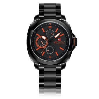 NAVIFORCE 24 Hours Dial Stainless Steel Band Sport Watch (Orange)