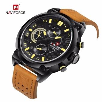 Naviforce NF9068L Luxury Watch Men Sport Wristwatch Luxury Genuine Leather Fashion Waterproof Watches Men Yellow - intl
