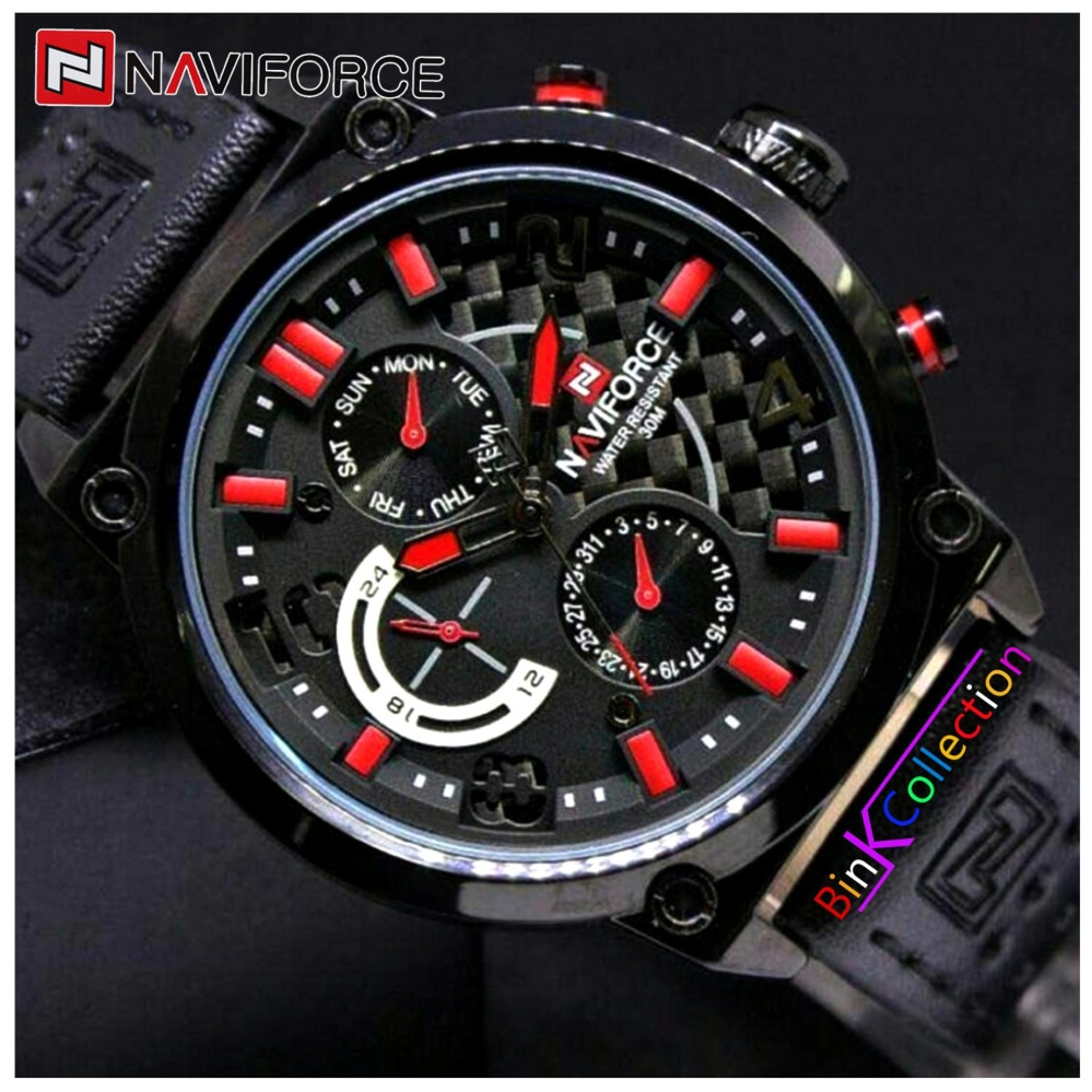 Naviforce Original Jam Tangan Pria NF31JAC69 Leather Strap Chrono Aktif