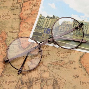 New Fashion Vintage Round Circle Eyeglasses Frame Myopia Glasses Optical Rx able Brown - intl