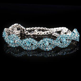 Baru Wanita Kristal Gelang Berlian Imitasi (biru)-Intl