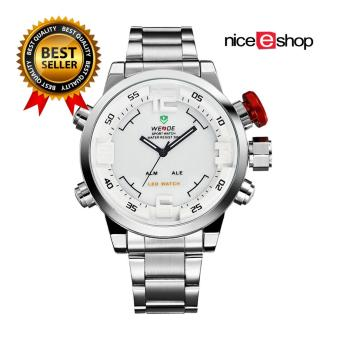 niceEshop Mens Dual Time Display Sports Wrist Watches(SilverWhite)