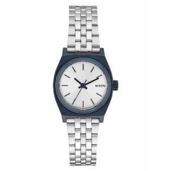 NIXON Small Time Teller Navy / Silver Jam Tangan Women A3991849 - Stainless Steel - Silver