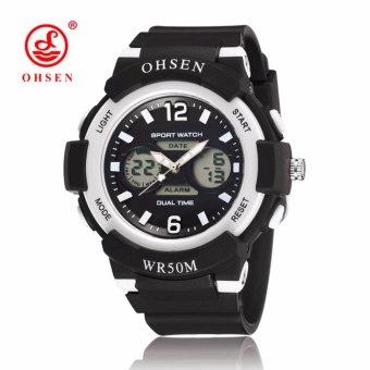 OHSEN Brand AD1612 Women rubber strap digital Fashion sport waterproof wristwatch(Black) - intl