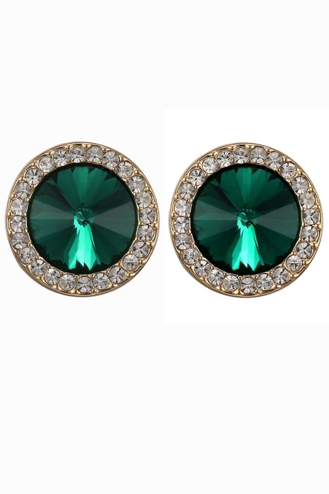 One Zero One 1 pair vintage fashion delicate factory supply alloy round filled green glass with green stud earrings