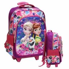 Onlan Tas Anak Sekolah Trolley SD Frozen Cantik 5D Timbul Hologram 2 Kantung Besar Import - Purple