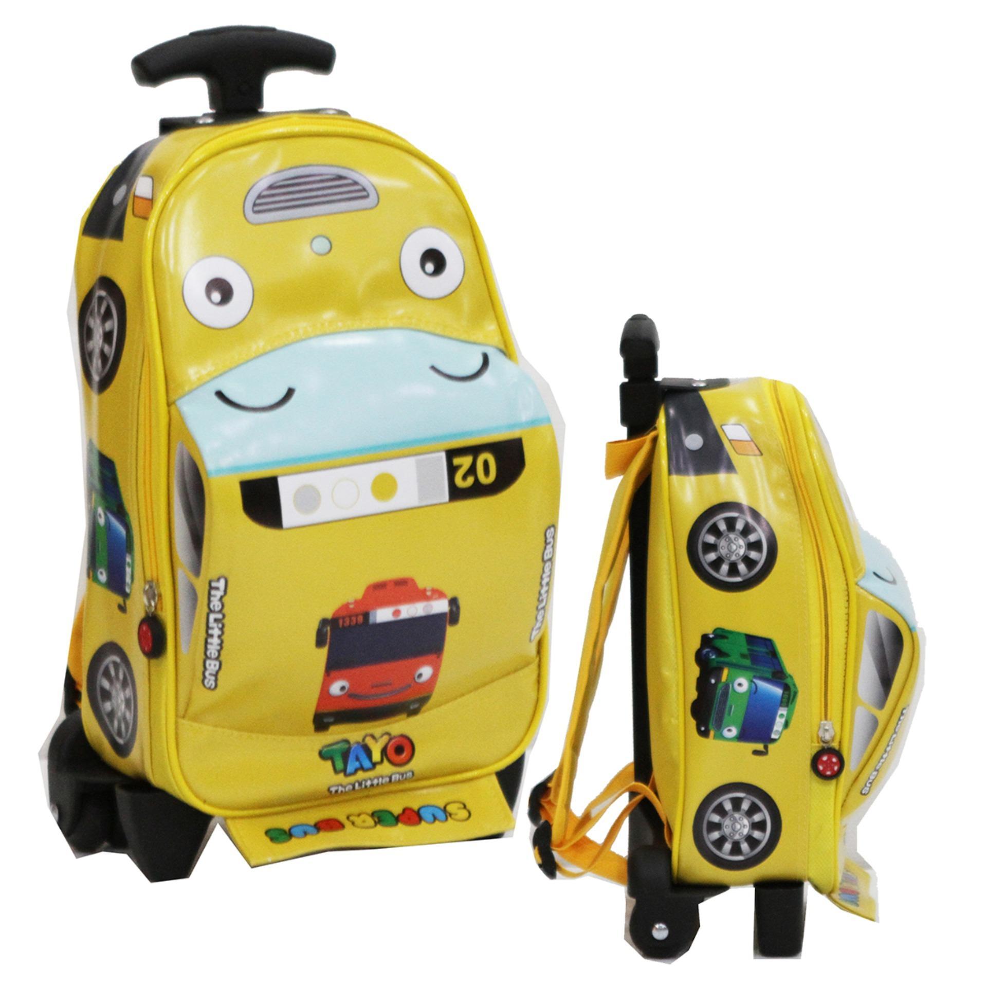 Onlan Tas Trolley Anak Sekolah PAUT Gambar TAYO Bentuk Mobil Bahan Kain Sponge Anti Air