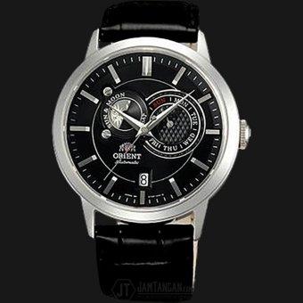 Orient Sun & Moon FET0P003B Automatic Black dial Black Leather Strap - Jam Tangan Pria