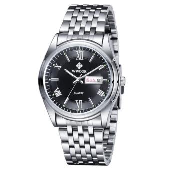 Original Brand WWOOR Men Watch Calendar Luxury Brand Men Watch Waterproof Steel Wristwatches for Men Clock Relogio Masculino - intl