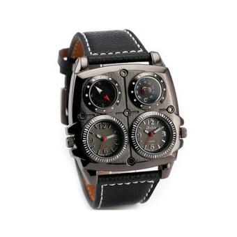 Oulm Mechanical Analog Dual Compass Quartz Men Leather Band Fashion Watch - 1140 - Hitam