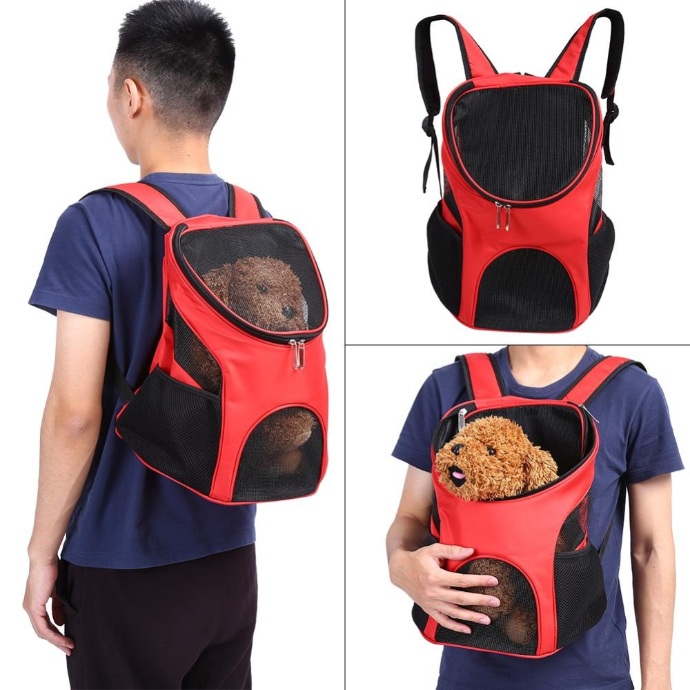 Outdoor Travel Cat Dog Pet Backpack Carrier/Ventilated Mesh DoubleShoulder Bag(Red) - intl