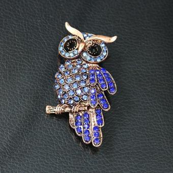Owl Bros Pin Perhiasan Kristal Berlian Imitasi Gemstone (Warna: Biru)-Intl