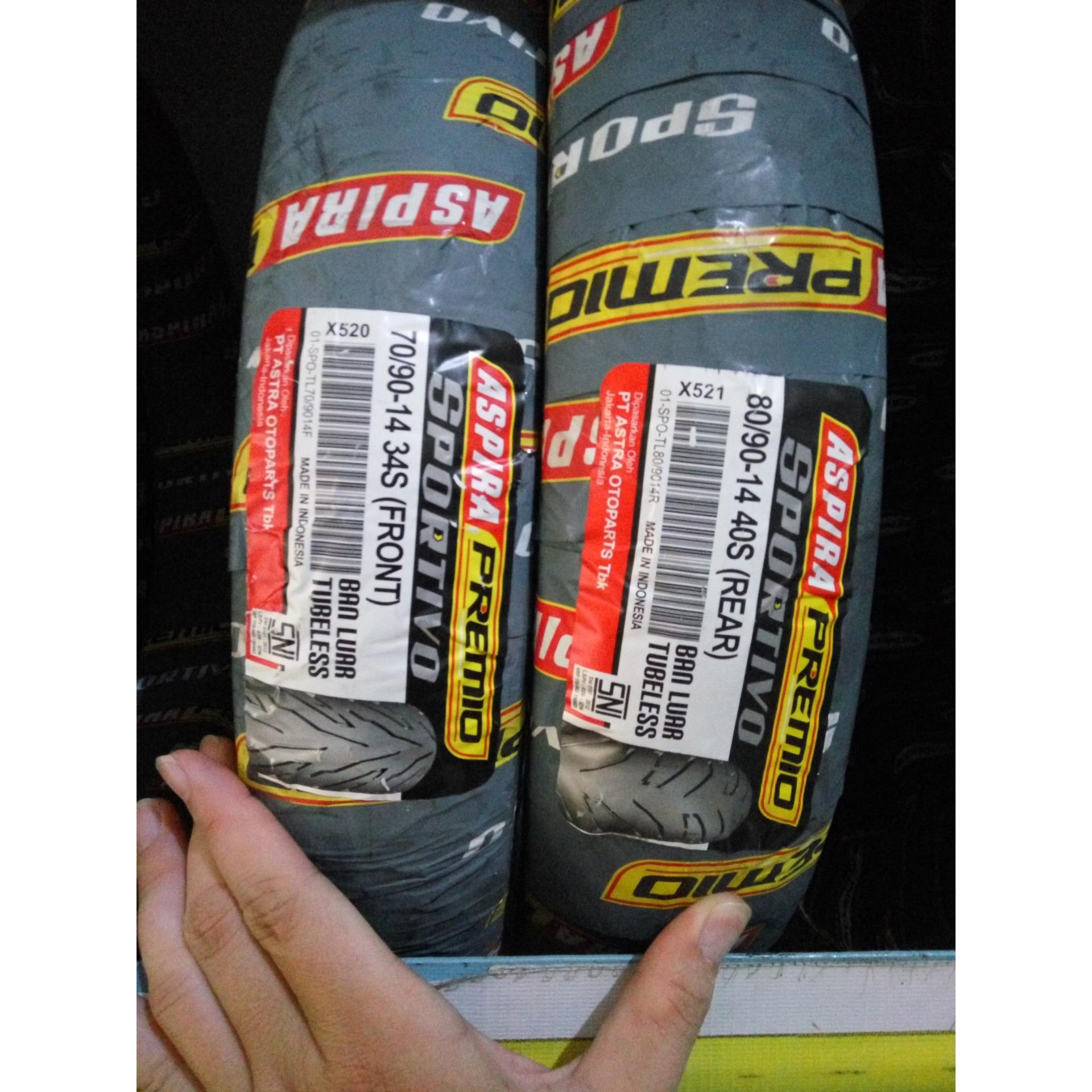 Paket Aspira Premio Sportivo [ 70/90-14 Front & 80/90-14 Rear ] Tubeless Ban Matic (Free Pentil Tubeless)