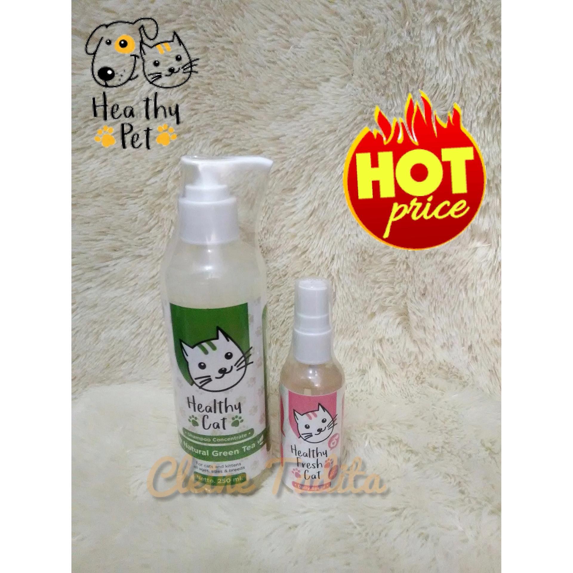 paket healthy cat shampoo natural green tea + cologne