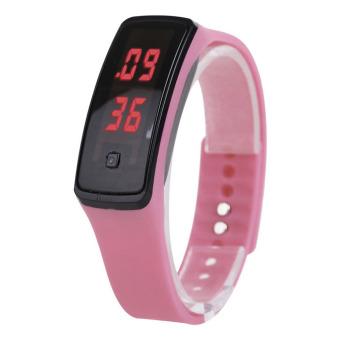 PAlight warna Candy silikon layar sentuh Digital jam tangan Sport jam tangan LED (berwarna merah