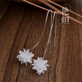Price Checker Perempuan style zirkon Korea kristal anting-anting rantai telinga Bandingkan Simpan