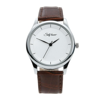 Personality Leather Strap White Face Alloy Shell Couple Watch(Brown) - intl