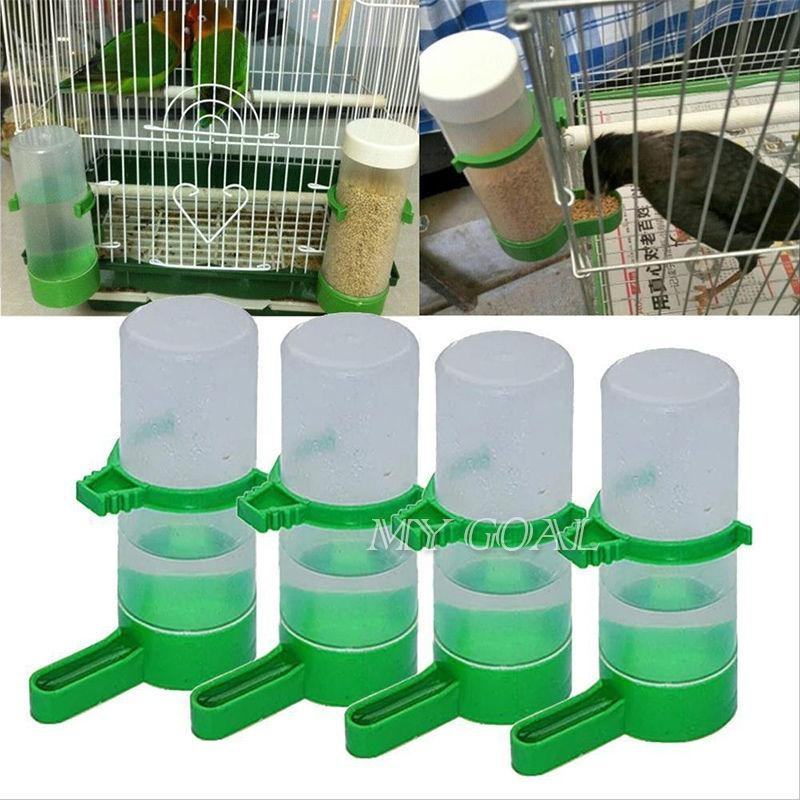 Pet 4Pcs Bird Drinker Feeder Drinking Water Bottle with Clip forLovebirds Cage - intl