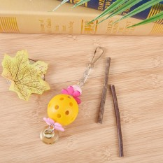 Pet Bird Bites Ball Parrot Chew Bell Toys Cage Swing Hanging Cockatiel Parakeet Yellow - intl