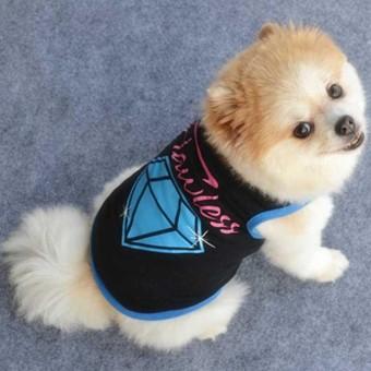 Anjing Peliharaan Rompi Musim Panas Tank T Shirt Lucu Anjing Hitam dan Biru Diamond Gaya Anjing
