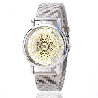 Pierced Mechanical Watch Alloy Large Dial Ladies Watches Fashion Women's Watches(Silver) - intl