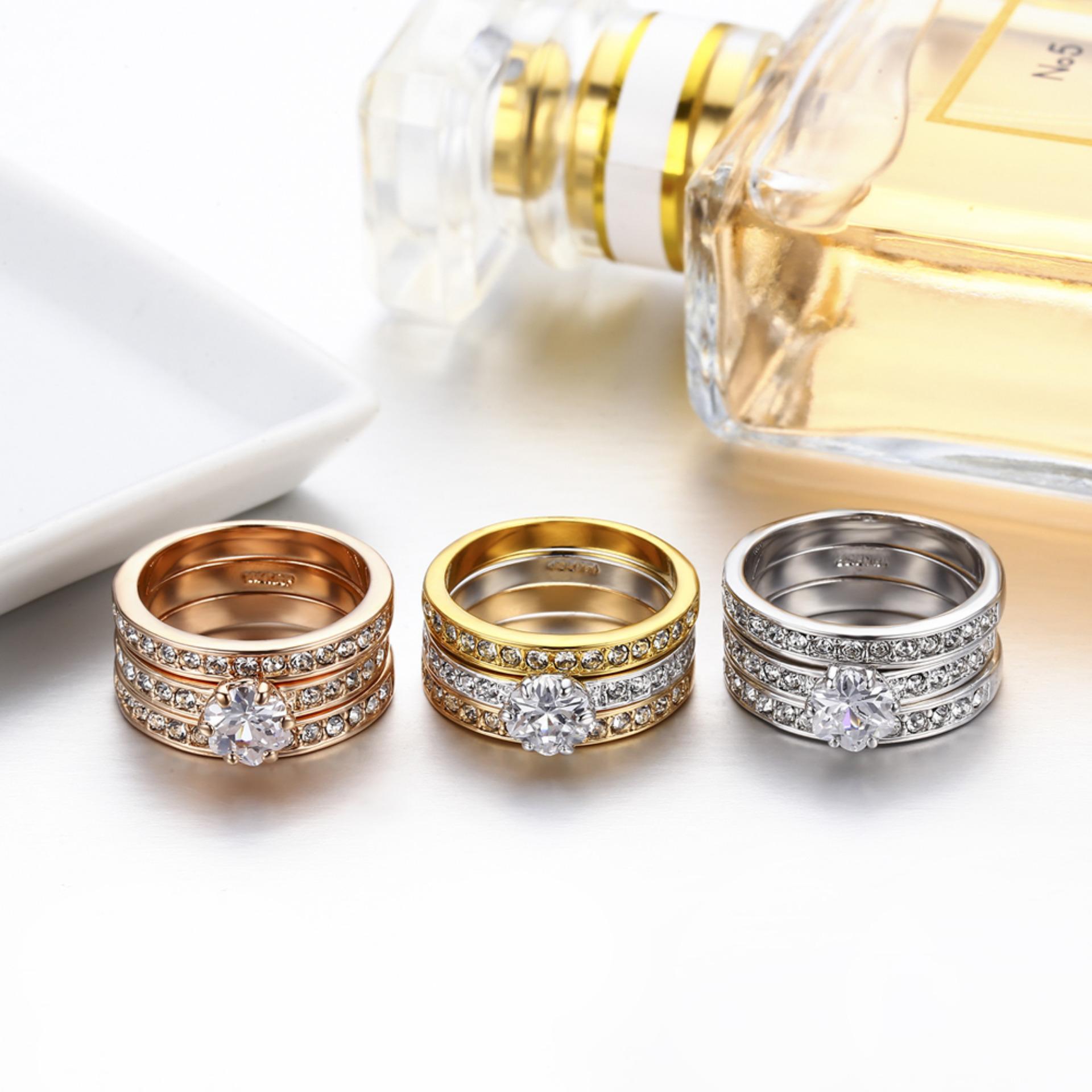 Pinannie 3warnd putih/mawar emas berlapis kubik Zirconia Berliancincin kawin perhiasan untuk .